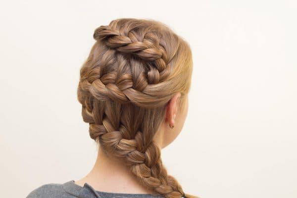плетение французской косы зигзагом