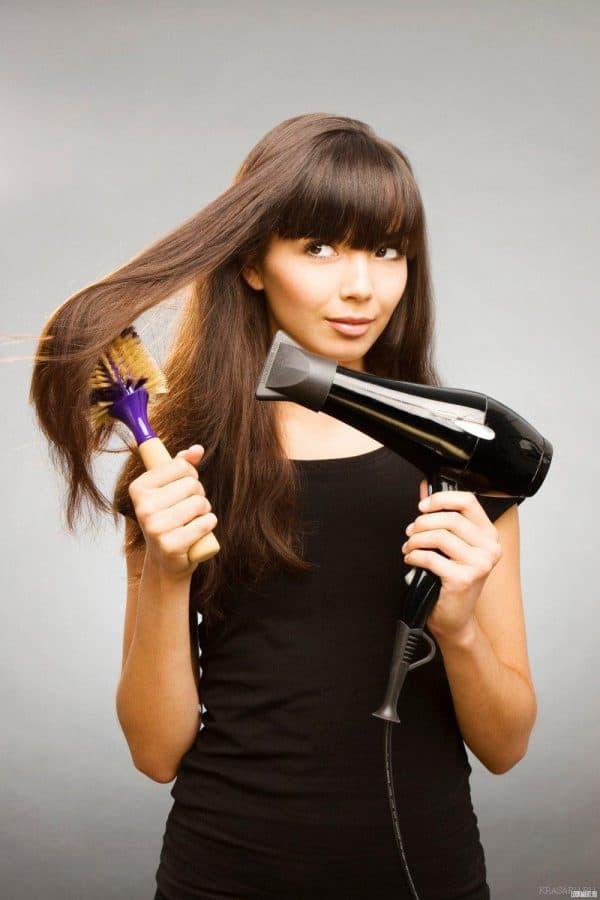 укладка длинных волос с челкой