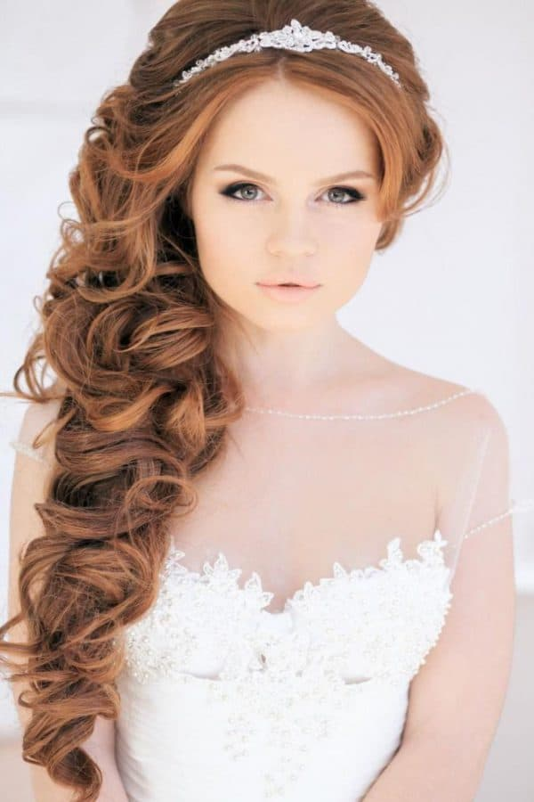 свадебные прически на длинные волосы с челкой