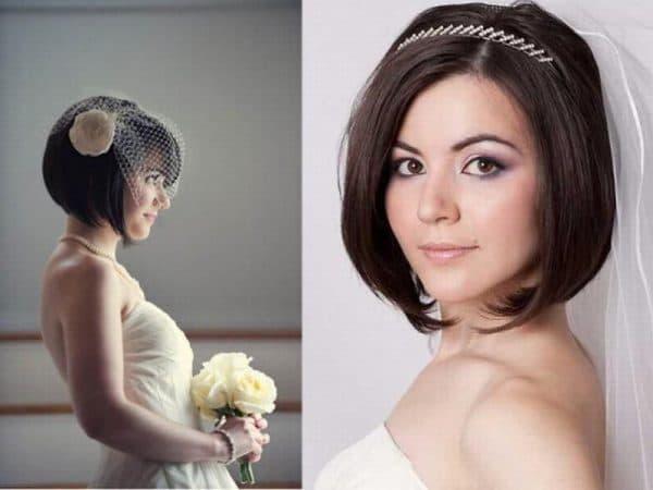 прически на свадьбу на короткие волосы